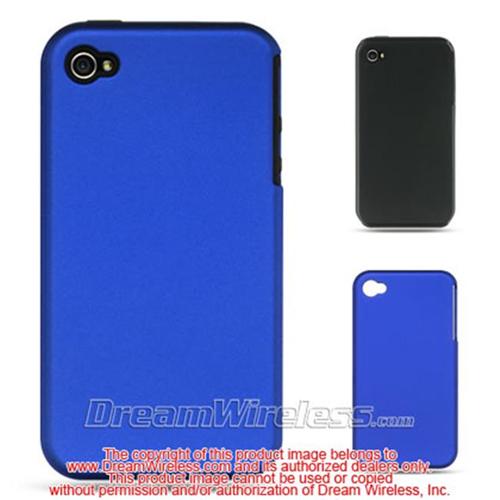 DreamWireless IP-SCRIP4VZBK-BL Apple iPhone 4S & iPhone 4 Compatible Rubber Case - Black Skin Plus Blue