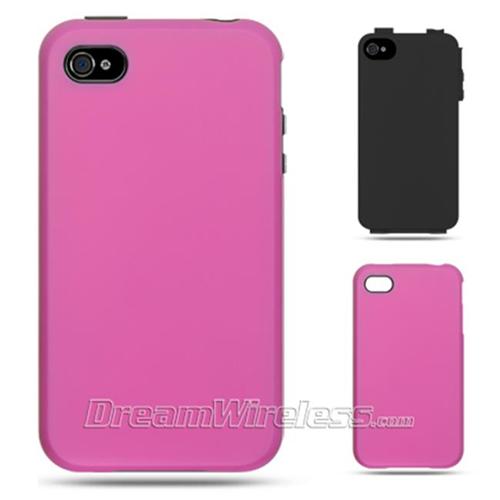 DreamWireless IP-HESCRIP4VZBK-HP iPhone 4S & iPhone 4 Compatible High-End Hybrids Black Skin Plus Hot Pink Rubber