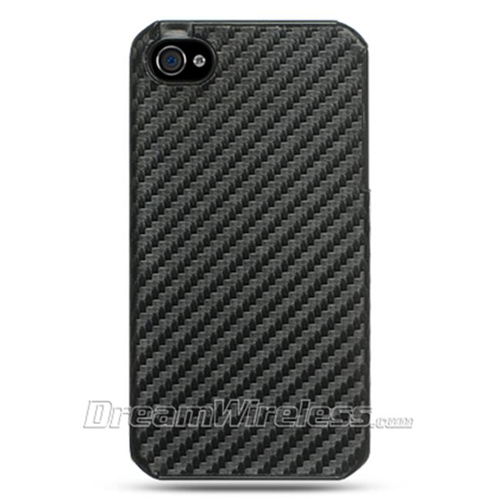 DreamWireless IP-FCIP4BKCF-R iPhone 4S & iPhone 4 Compatible Hd Fabric Crystal Case - Black Carbon Fiber-Rear Only