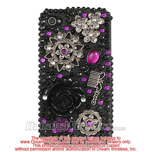 DreamWireless IP-F3DIP4BKFL iPhone 4S & iPhone 4 Compatible 3D Full Diamond Case - Black Flower