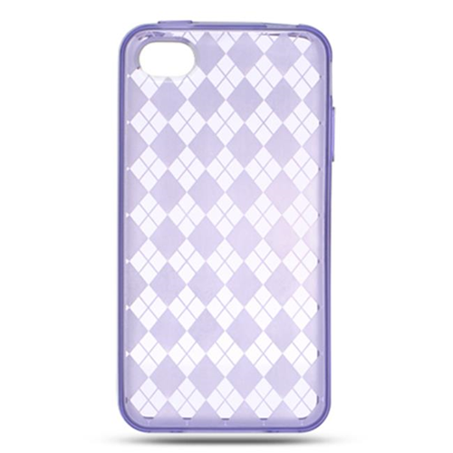DreamWireless IP-CSIP4VZPPCK iPhone 4S & iPhone 4 Compatible Crystal Skin Case - Purple Checker