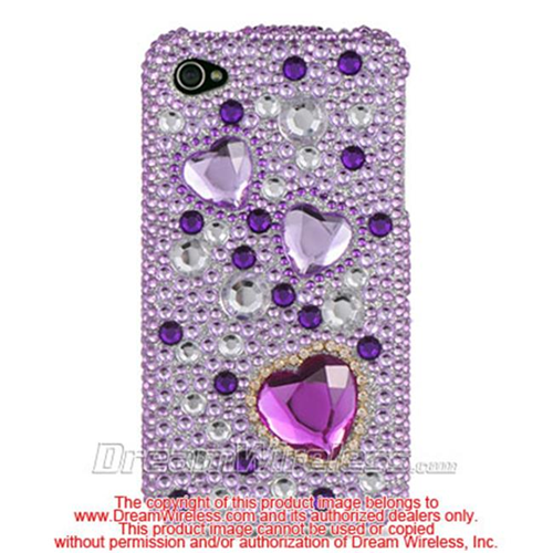 DreamWireless IP-FDIP4PPH iPhone 4S & iPhone 4 Compatible Hd Full Diamond Case - Purple Heart
