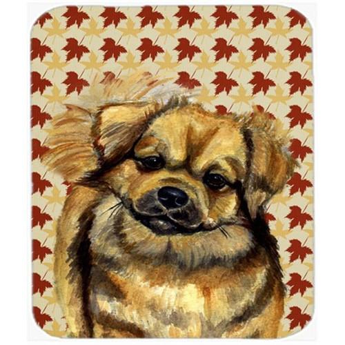Carolines Treasures LH9124MP Tibetan Spaniel Fall Leaves Portrait Mouse Pad Hot Pad or Trivet