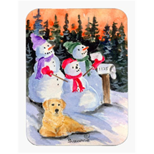 Carolines Treasures SS8989MP Snowman with Golden Retriever Mouse Pad & Hot Pad & Trivet