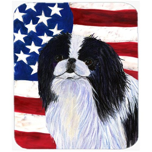 Carolines Treasures SS4223MP Usa American Flag With Japanese Chin Mouse Pad Hot Pad or Trivet