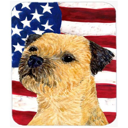 Carolines Treasures SS4247MP Usa American Flag With Border Terrier Mouse Pad Hot Pad Or Trivet
