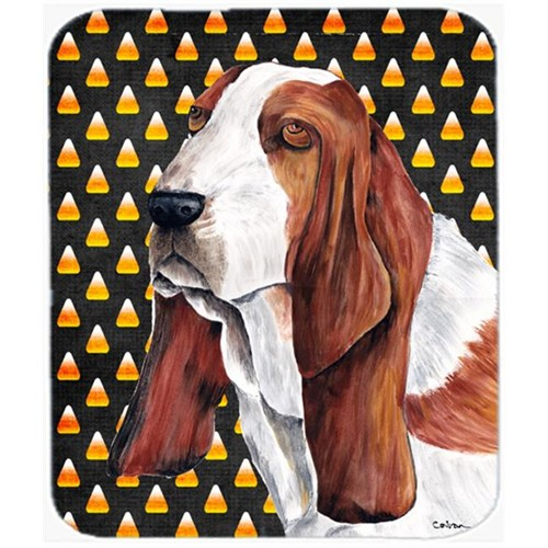Carolines Treasures SC9182MP Basset Hound Candy Corn Halloween Portrait Mouse Pad Hot Pad Or Trivet