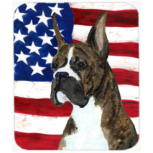 Carolines Treasures SS4035MP Usa American Flag With Boxer Mouse Pad Hot Pad Or Trivet