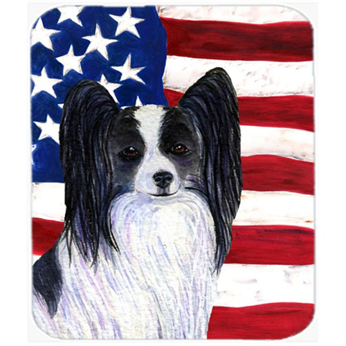 Carolines Treasures SS4032MP Usa American Flag With Papillon Mouse Pad Hot Pad Or Trivet