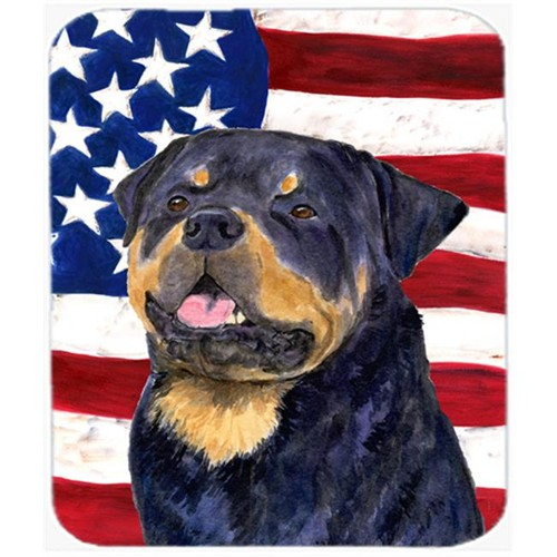 Carolines Treasures SS4009MP Usa American Flag With Rottweiler Mouse Pad Hot Pad Or Trivet