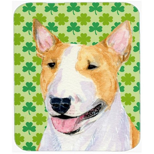 Carolines Treasures SS4427MP Bull Terrier St. Patricks Day Shamrock Portrait Mouse Pad Hot Pad Or Trivet