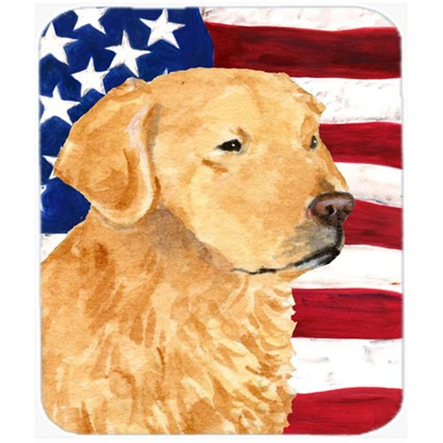 Carolines Treasures SS4055MP Usa American Flag With Golden Retriever Mouse Pad Hot Pad Or Trivet