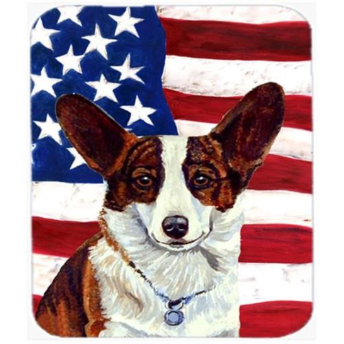 Carolines Treasures LH9011MP 9.5 x 8 in. USA American Flag with Corgi Mouse Pad Hot Pad or Trivet
