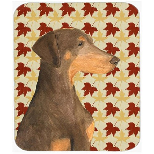 Carolines Treasures SS4377MP Doberman Fall Leaves Portrait Mouse Pad Hot Pad Or Trivet