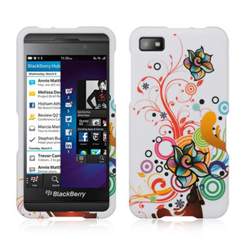 DreamWireless CRBBLAWTATFL Blackberry Z10 Crystal Rubber Case White Autumn Flower