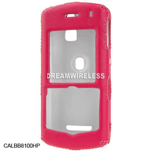 DreamWireless CALBB8100HP Blackberry 8100 Crystal Leather Case Hot Pink With Stitch & Clip