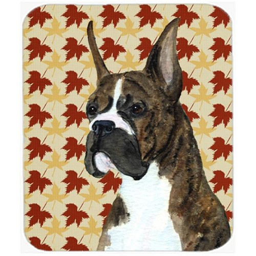 Carolines Treasures SS4348MP Boxer Brindle Fall Leaves Portrait Mouse Pad Hot Pad Or Trivet