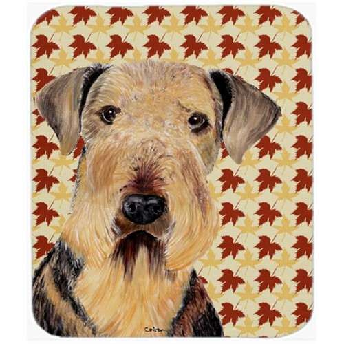 Carolines Treasures SC9213MP Airedale Fall Leaves Portrait Mouse Pad Hot Pad or Trivet