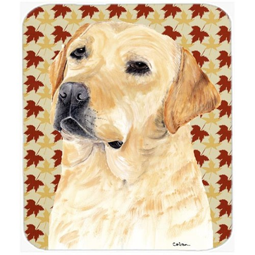 Carolines Treasures SC9216MP Labrador Yellow Fall Leaves Portrait Mouse Pad Hot Pad or Trivet