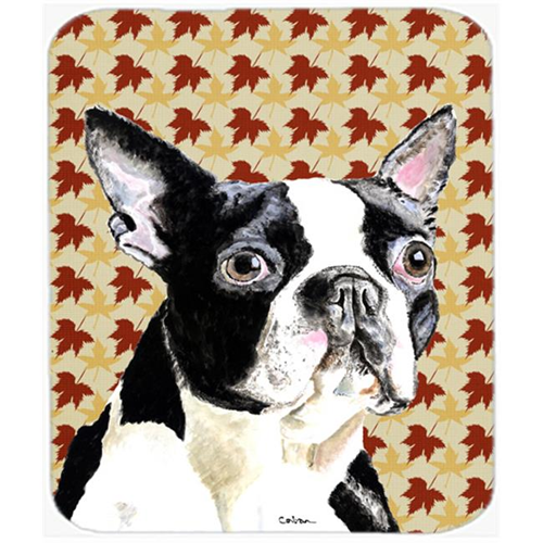 Carolines Treasures SC9200MP Boston Terrier Fall Leaves Portrait Mouse Pad Hot Pad or Trivet