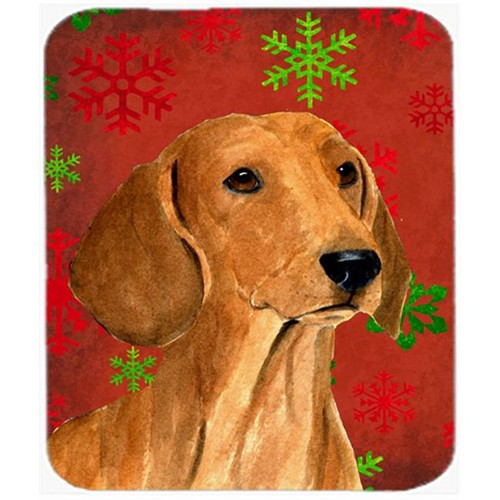Carolines Treasures SS4694MP Dachshund Red and Green Snowflakes Christmas Mouse Pad Hot Pad or Trivet