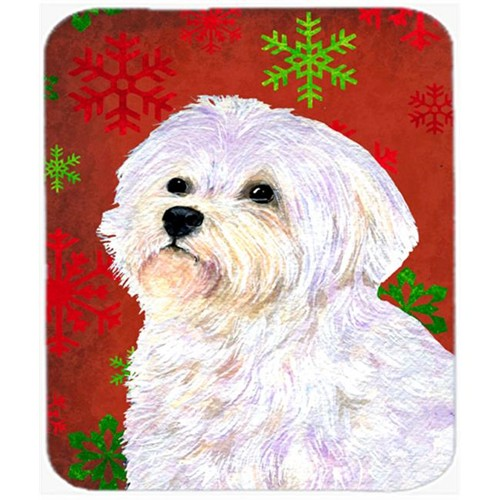 Carolines Treasures SS4688MP Maltese Red and Green Snowflakes Holiday Christmas Mouse Pad Hot Pad or Trivet
