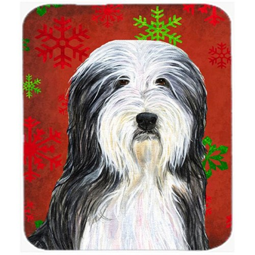 Carolines Treasures SS4704MP Bearded Collie Snowflakes Holiday Christmas Mouse Pad Hot Pad or Trivet