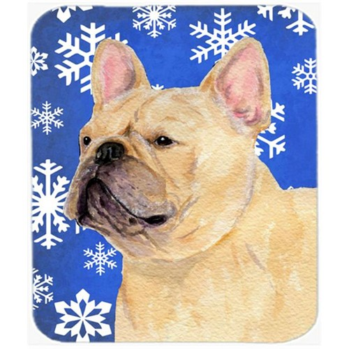 Carolines Treasures SS4623MP French Bulldog Winter Snowflakes Holiday Mouse Pad Hot Pad or Trivet
