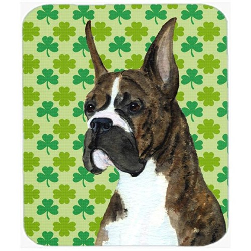 Carolines Treasures SS4439MP Boxer St. Patricks Day Shamrock Portrait Mouse Pad Hot Pad Or Trivet