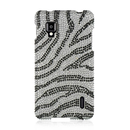 DreamWireless FDLGLS970SLZ LG Optimus G Sprint Ls970 Full Diamond Case Silver Zebra