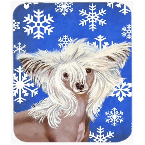 Carolines Treasures LH9302MP Chinese Crested Winter Snowflakes Holiday Mouse Pad Hot Pad Or Trivet - 7.75 x 9.25 In.