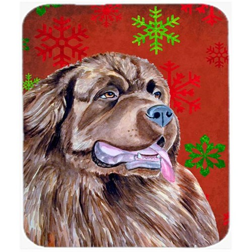 Carolines Treasures LH9309MP Newfoundland Red And Green Snowflakes Christmas Mouse Pad Hot Pad Or Trivet - 7.75 x 9.25 In.