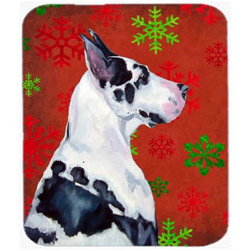 Carolines Treasures LH9326MP Great Dane Red And Green Snowflakes Christmas Mouse Pad Hot Pad Or Trivet - 7.75 x 9.25 In.