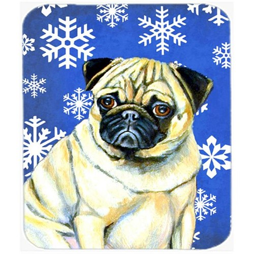 Carolines Treasures LH9297MP Pug Winter Snowflakes Holiday Mouse Pad Hot Pad Or Trivet
