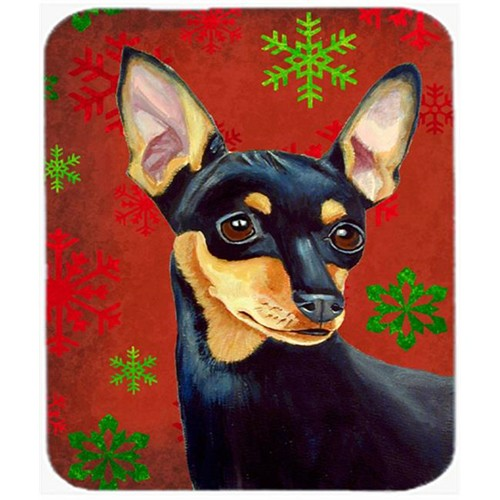 Carolines Treasures LH9335MP Min Pin Red And Green Snowflakes Holiday Christmas Mouse Pad Hot Pad Or Trivet - 7.75 x 9.25 In.
