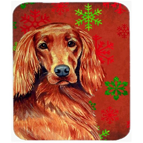 Carolines Treasures LH9344MP Irish Setter Red And Green Snowflakes Christmas Mouse Pad Hot Pad Or Trivet - 7.75 x 9.25 In.