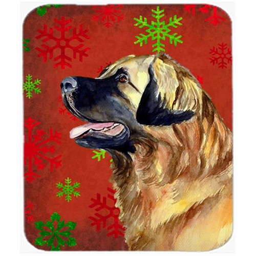 Carolines Treasures LH9348MP Leonberger Red And Green Snowflakes Christmas Mouse Pad Hot Pad Or Trivet - 7.75 x 9.25 In.