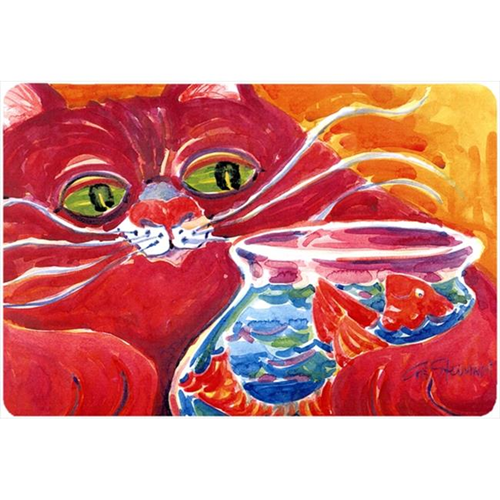 Carolines Treasures 6048MP Big Red Cat At The Fishbowl Mouse Pad Hot Pad Or Trivet