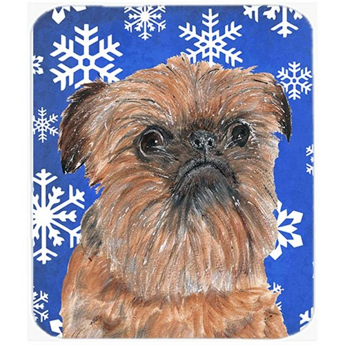 Carolines Treasures SC9600MP 7.75 x 9.25 in. Brussels Griffon Blue Snowflake Winter Mouse Pad Hot Pad or Trivet
