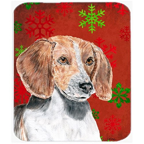 Carolines Treasures SC9593MP 7.75 x 9.25 in. English Foxhound Red Snowflake Christmas Mouse Pad Hot Pad or Trivet