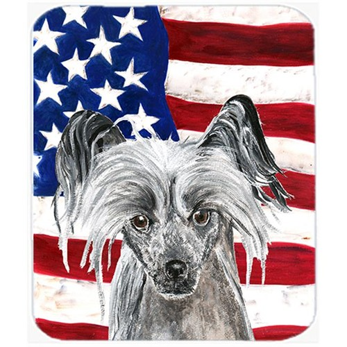 Carolines Treasures SC9522MP 7.75 x 9.25 In. Chinese Crested USA American Flag Mouse Pad Hot Pad or Trivet