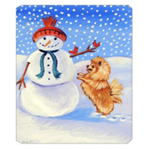 Carolines Treasures 7151MP 8 x 9.5 in. Snowman with Pomeranian Mouse Pad Hot Pad Or Trivet
