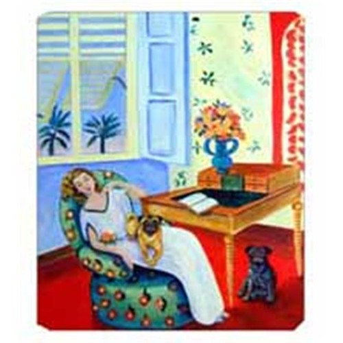 Carolines Treasures 7166MP 8 x 9.5 in. Lady with her Pug Mouse Pad Hot Pad Or Trivet