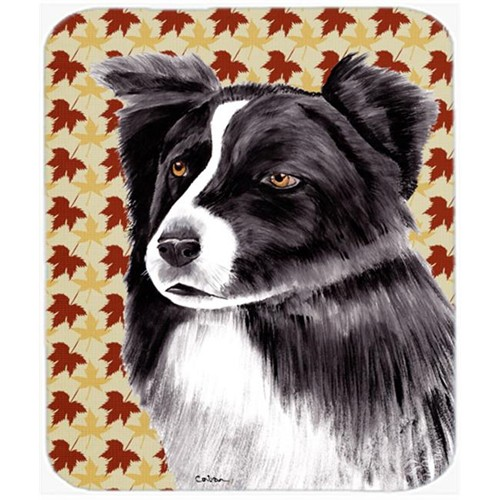 Carolines Treasures SC9207MP Border Collie Fall Leaves Portrait Mouse Pad Hot Pad or Trivet