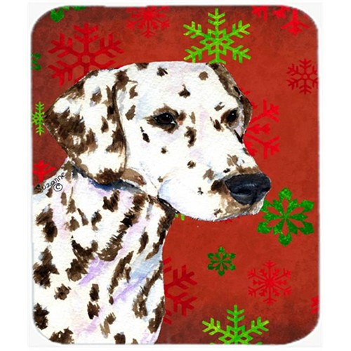 Carolines Treasures SS4676MP Dalmatian Red and Green Snowflakes Christmas Mouse Pad Hot Pad or Trivet