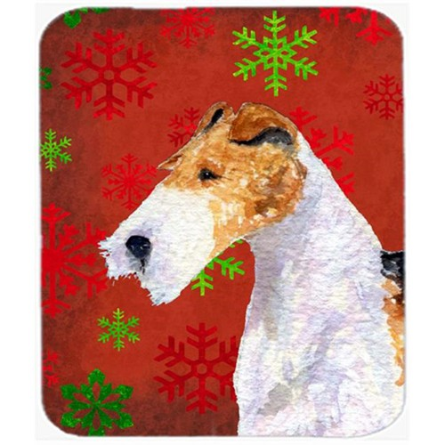 Carolines Treasures SS4685MP Fox Terrier Red and Green Snowflakes Christmas Mouse Pad Hot Pad or Trivet