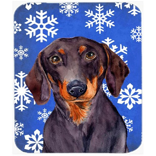 Carolines Treasures LH9268MP Dachshund Winter Snowflakes Holiday Mouse Pad Hot Pad Or Trivet