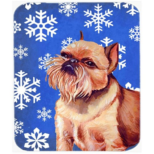 Carolines Treasures LH9269MP Brussels Griffon Winter Snowflakes Holiday Mouse Pad Hot Pad Or Trivet