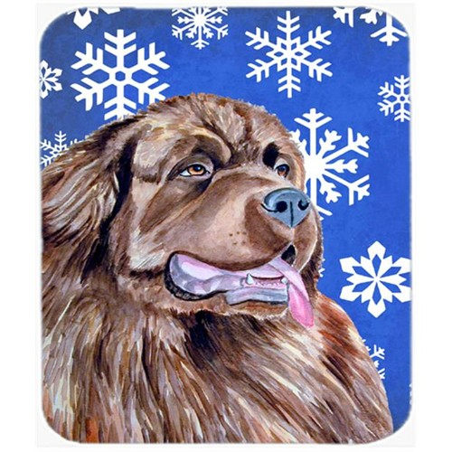 Carolines Treasures LH9264MP Newfoundland Winter Snowflakes Holiday Mouse Pad Hot Pad Or Trivet