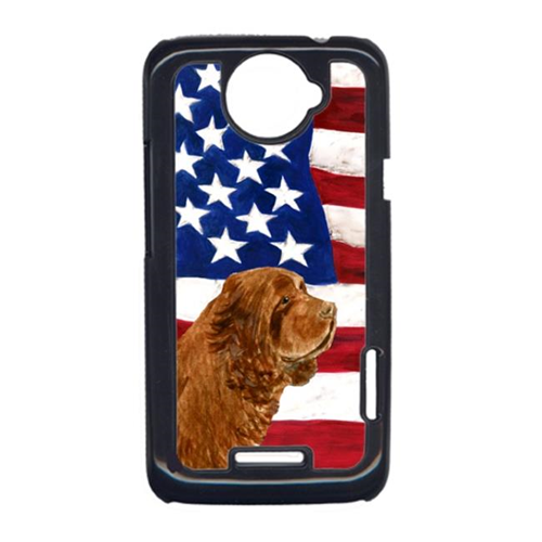 Carolines Treasures SS4037HTCONE USA American Flag With Sussex Spaniel HTC One X Cell Phone Cover